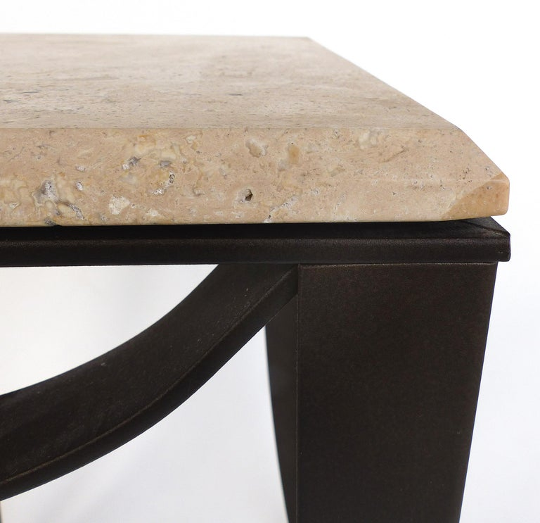 20th Century Wrought Iron Side Table with Travertine Top For Sale