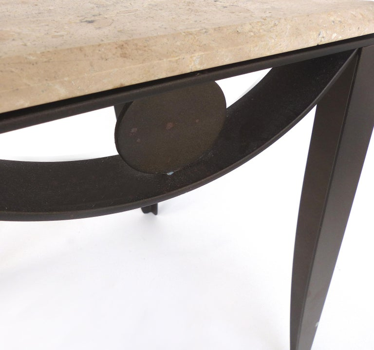Wrought Iron Side Table with Travertine Top For Sale 1