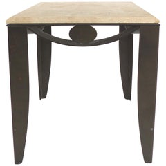 Wrought Iron Side Table with Travertine Top