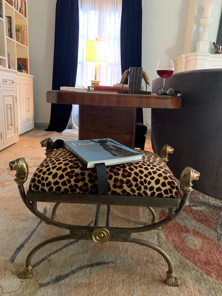 Wrought Iron Stool with Bronze Finials In Good Condition For Sale In Los Angeles, CA
