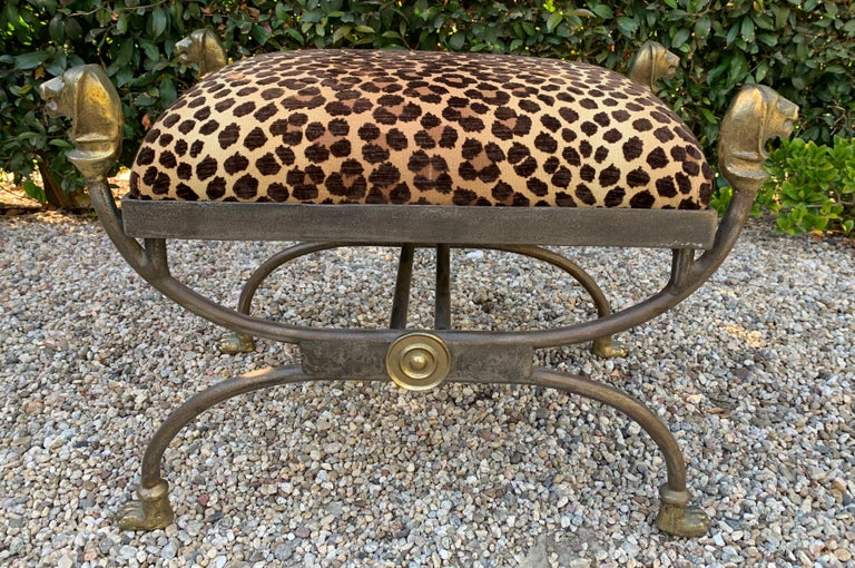 Wrought Iron Stool with Bronze Details in the Style of Giacometti For Sale 1