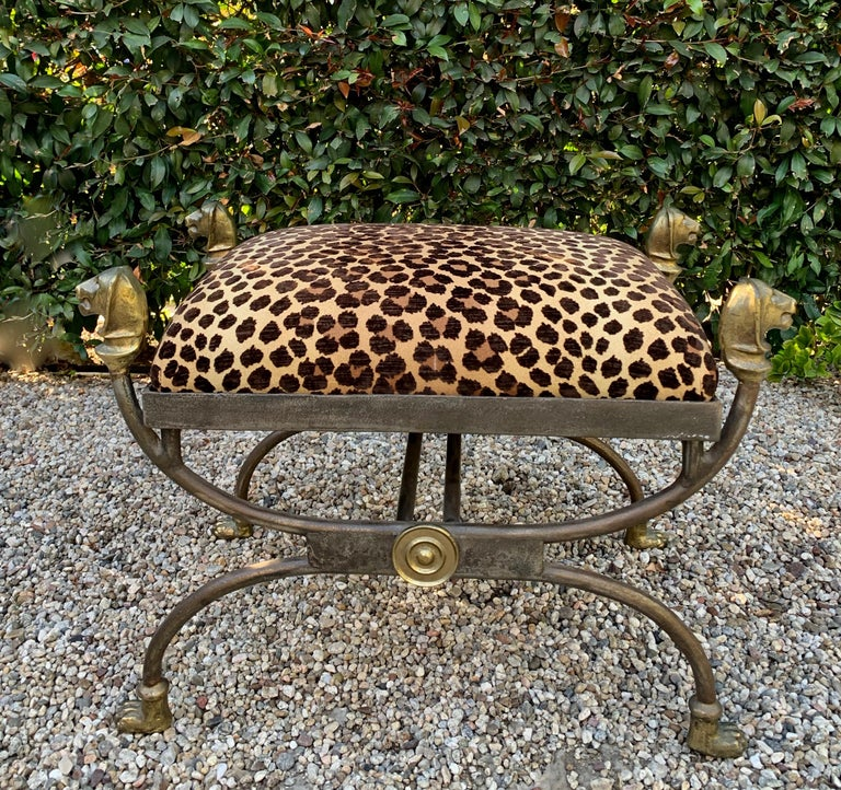 Wrought Iron Stool with Bronze Details in the Style of Giacometti For Sale 3