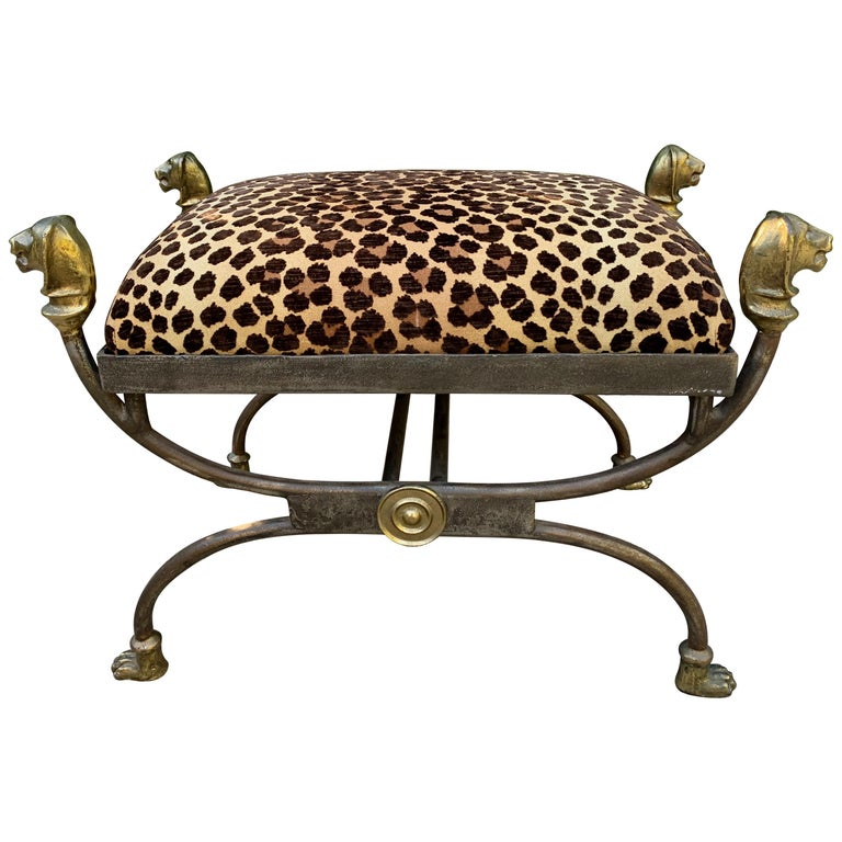 Wrought Iron Stool with Bronze Details in the Style of Giacometti For Sale