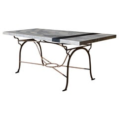 Wrought Iron Table Base with Solid Italian Arabesque Marble Top