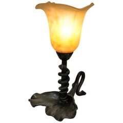 Wrought Iron Table Lamp with Snake Motif and Art Glass Shade by Daum