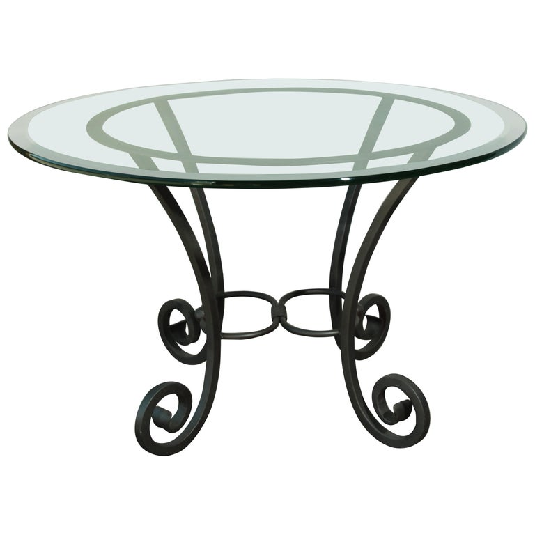 Wrought Iron Table With Glass Top For Sale At 1stdibs