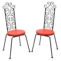 Wrought Iron Tip Top Equipment Salterini Style Scrolling Side Chairs, a Pair
