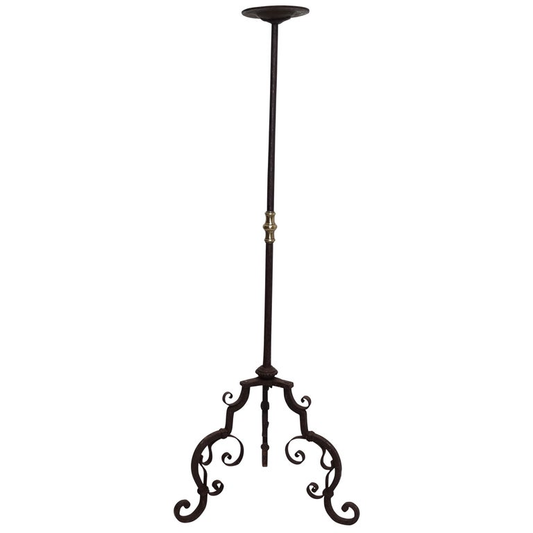 wrought iron torchiere candle stand european 19th century for sale
