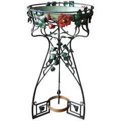 Wrought Iron Tray Serving Table Bar Liquor Stand Flower Art Plant Pedestal