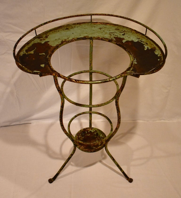Wrought Iron Tripod Washstand with Enameled Copper Bowl For Sale 5