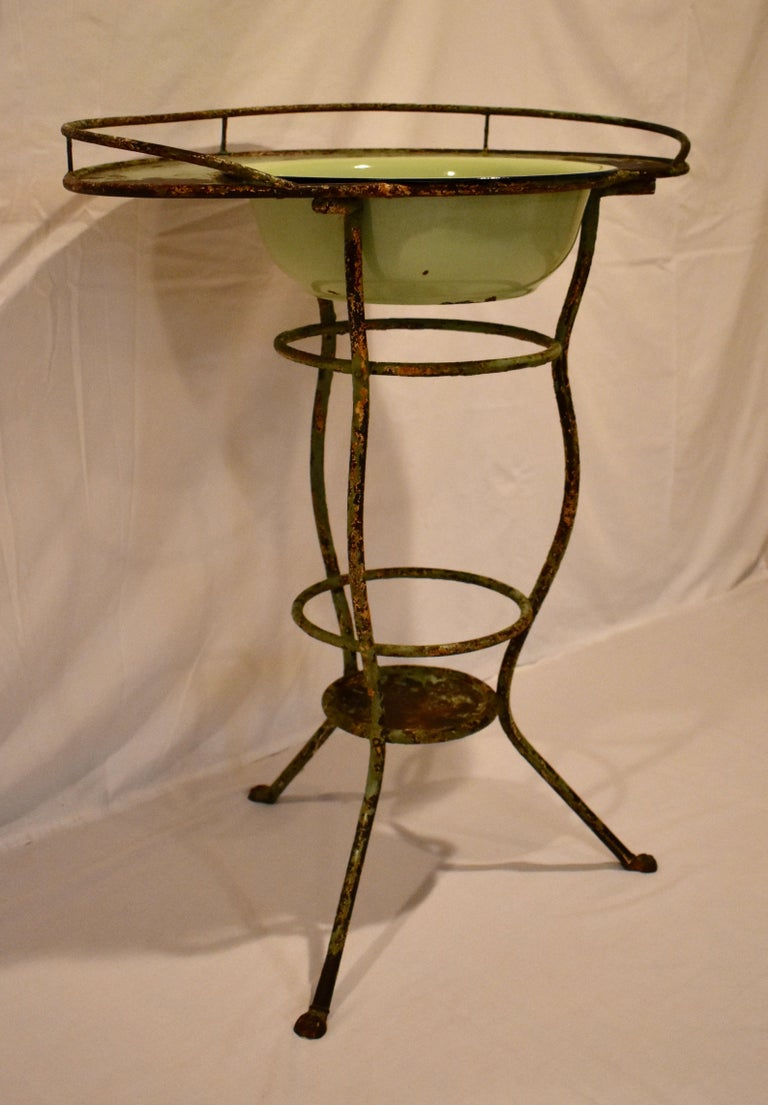 French Wrought Iron Tripod Washstand with Enameled Copper Bowl For Sale