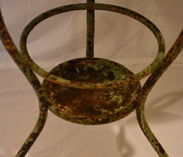 Wrought Iron Tripod Washstand with Enameled Copper Bowl For Sale 1