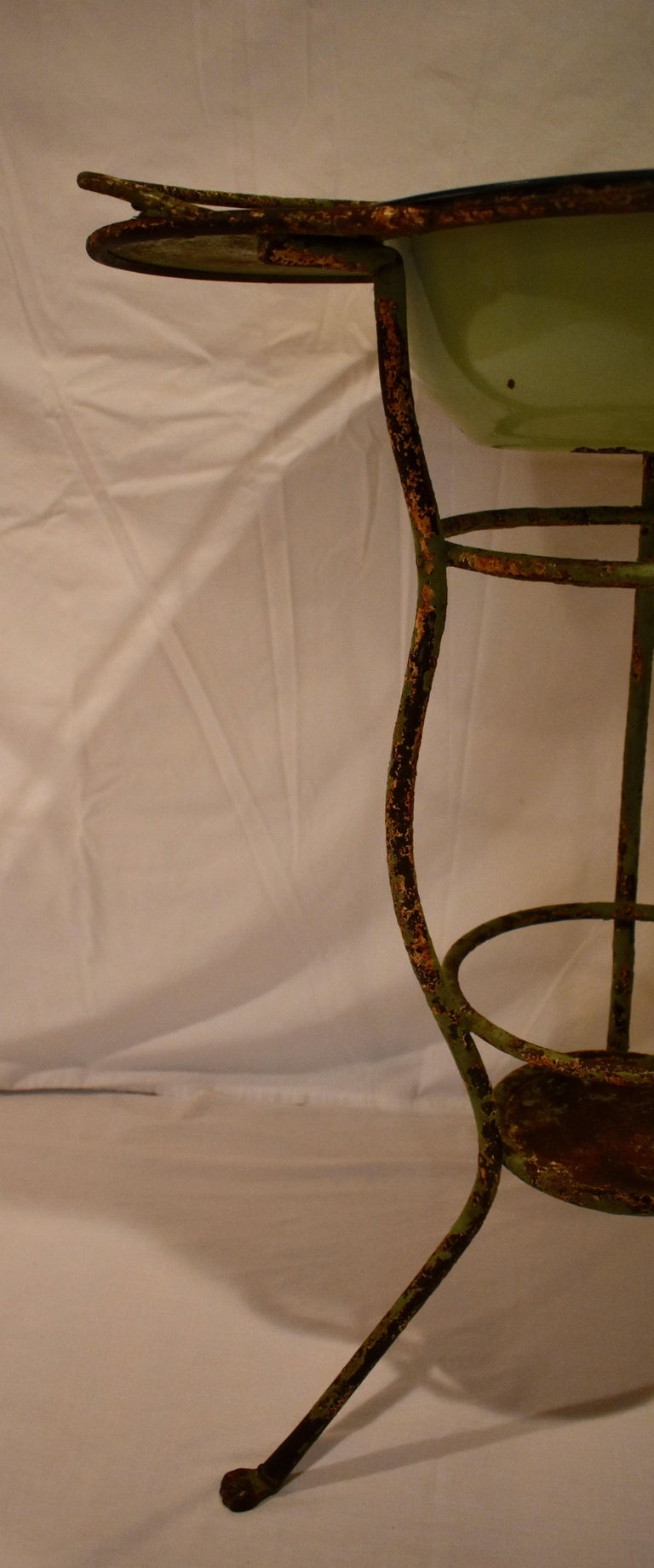 Wrought Iron Tripod Washstand with Enameled Copper Bowl For Sale 2