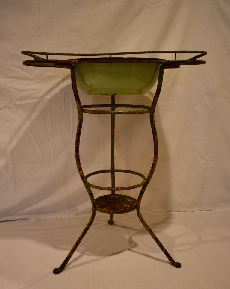 Wrought Iron Tripod Washstand with Enameled Copper Bowl For Sale 3