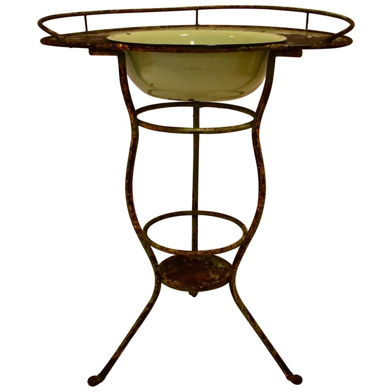 Wrought Iron Tripod Washstand with Enameled Copper Bowl For Sale