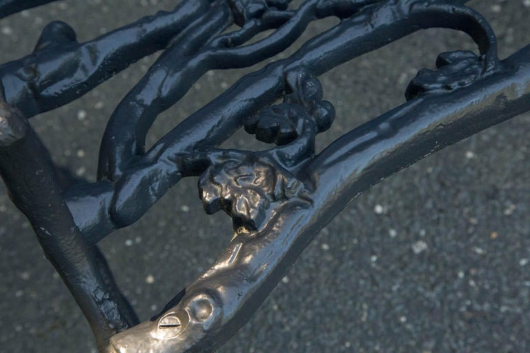Early 20th Century Wrought Iron Twig Form Bench For Sale