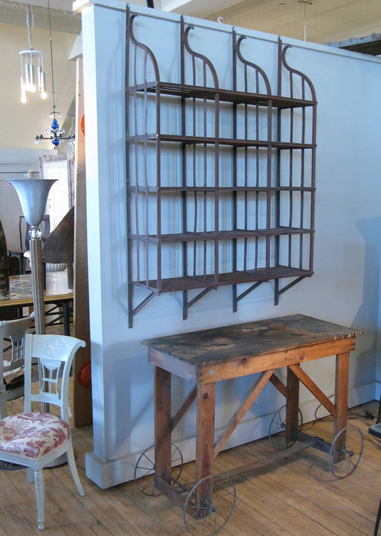 American Wrought Iron Wall-Hanging Shelving Rack For Sale