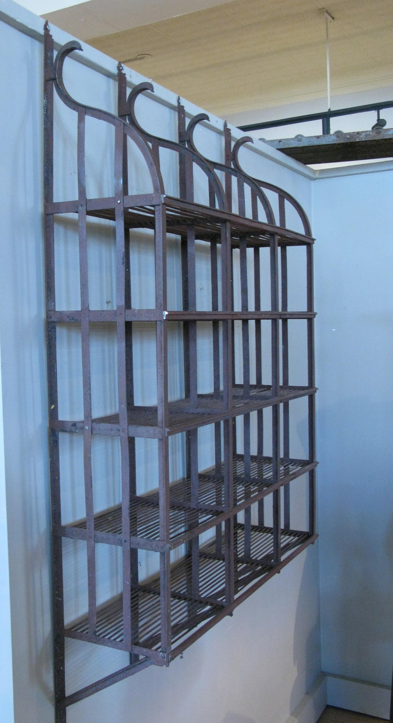 Mid-20th Century Wrought Iron Wall-Hanging Shelving Rack For Sale