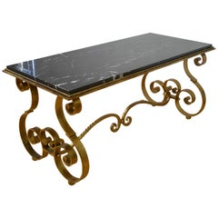 Wrought Iron with Marble Coffee Table, France, 1950s