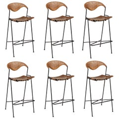Wrought Iron, Wood and Paper Cord Bar Stools by Arthur Umanoff