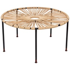 Wrought Iron, Woven Hemp Rope and Teak Footed Catchall, Table 1950s