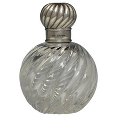 Wrythen Glass and Sterling Silver Perfume Bottle, Hallmarked, 1886
