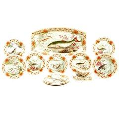 WT Copeland 19 C Aesthetic Movement Creamware  Fish Set