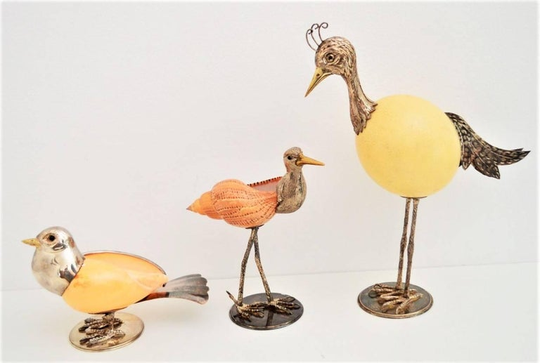 Bird Sculptures Made of Ostrich Egg and Sea Shells, Italy 1970, Set of 3 For Sale 3