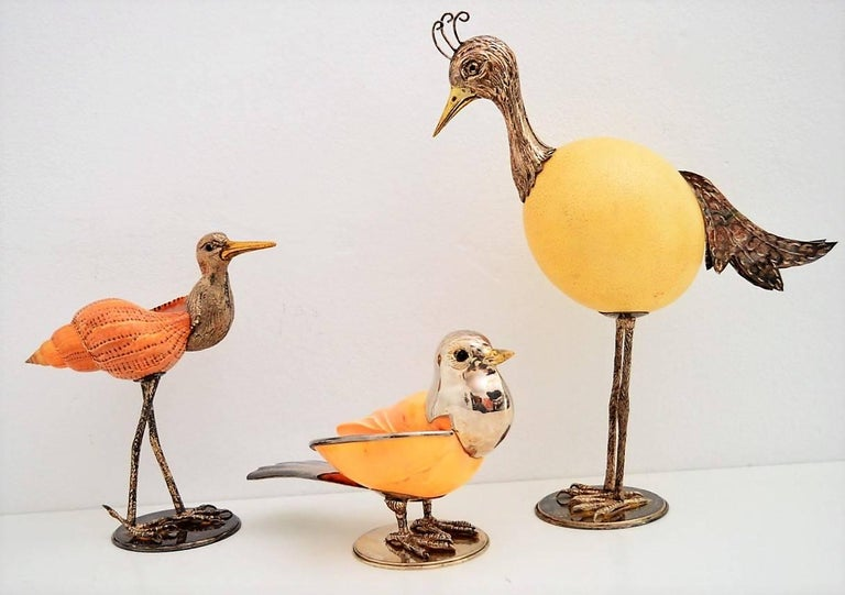 Late 20th Century Bird Sculptures Made of Ostrich Egg and Sea Shells, Italy 1970, Set of 3 For Sale