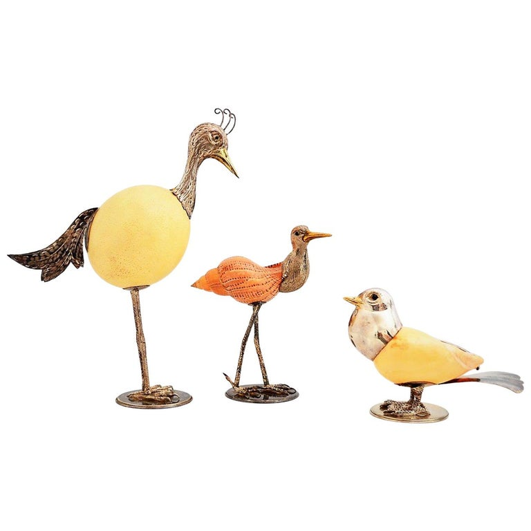 Bird Sculptures Made of Ostrich Egg and Sea Shells, Italy 1970, Set of 3 For Sale