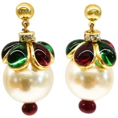 'WW' Collection poured glass, gilt and pearl drop 'Harlequin' earrings, 2019.
