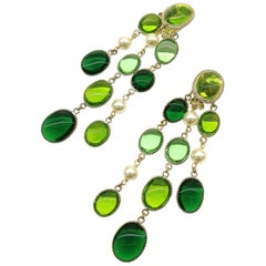 'WW' emerald and peridot poured glass, pearl 'Harlequin' drop earrings, 2018