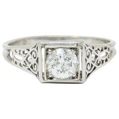 W.W. Fulmer & Co. 0.46 Carat Diamond Platinum Scrolled Heart Engagement Ring