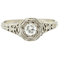 W.W. Fulmer & Co. Diamond 18 Karat White Gold Octagonal Engagement Ring