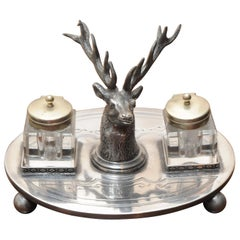 WW Harrison & Co Ep Victorian Desktop Ink Stand Art Nouveau Style with Stag Head