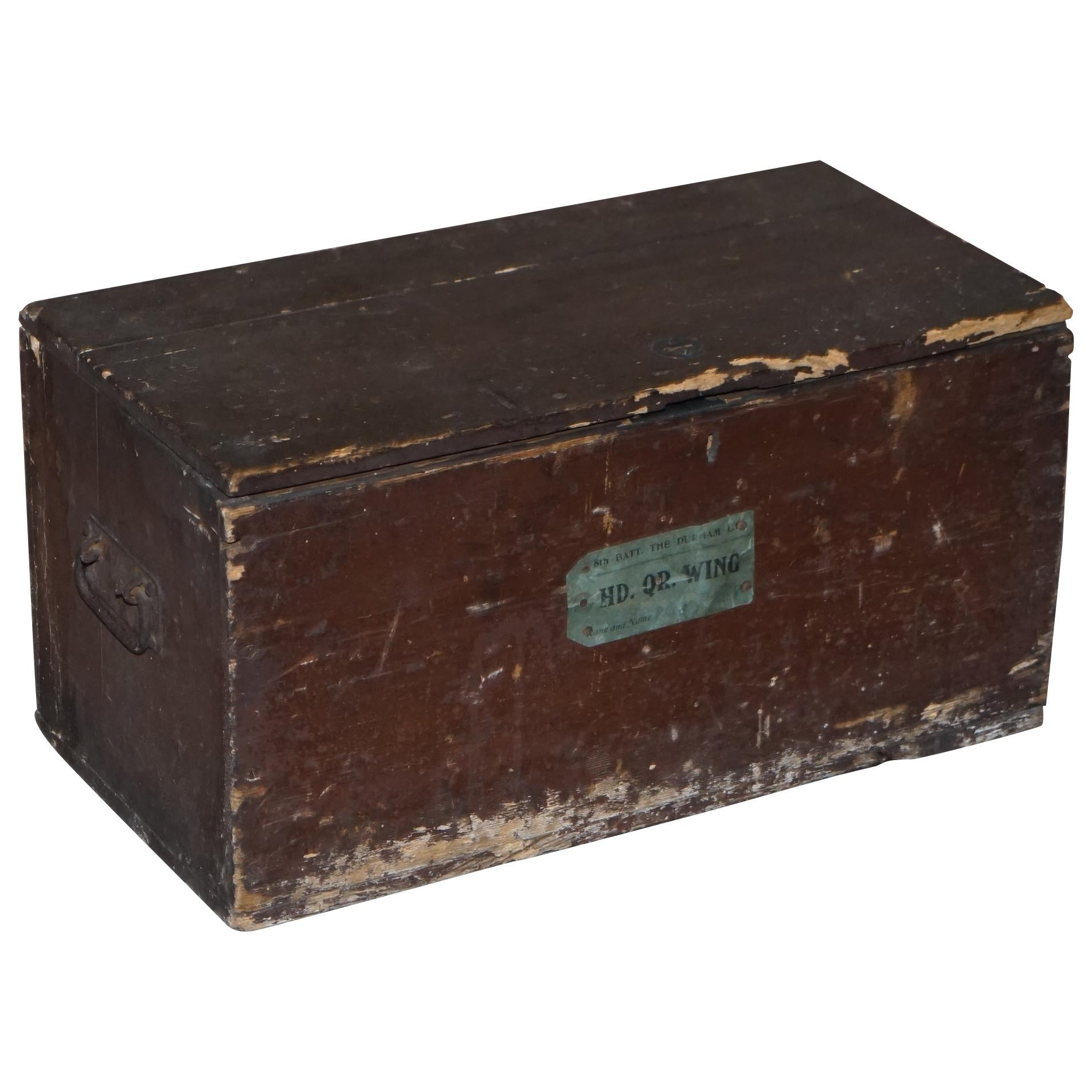WW2 1939-1945 8th Battalion the Durham Hd Hq Wing Military Campaign Chest Trunk