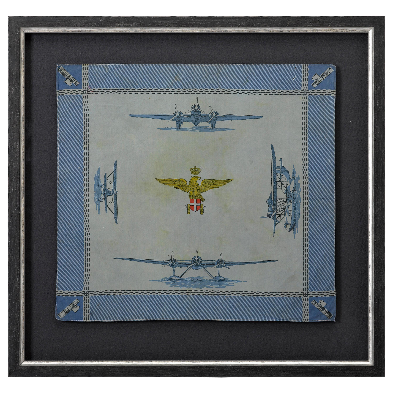 Interwar Period Italian Blue Silk Handkerchief With Airplanes, circa 1930s