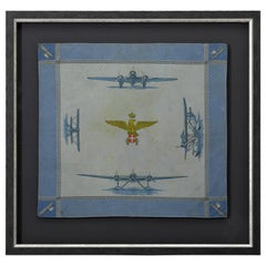 WWI Blue Silk Kerchief With Airplanes, circa 1915-1918