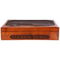 WWI geschnitzt russische Holzbox datiert 1916