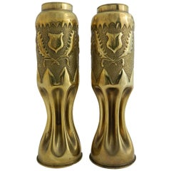 WWI Pair of Brass Shell Case Vases Trench Art