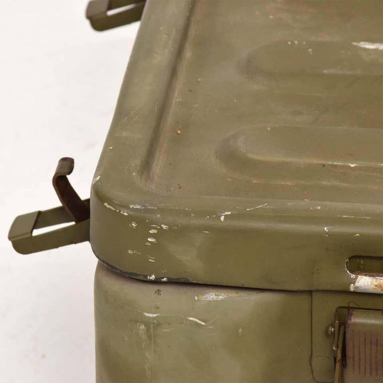 Fabulous Militaria surplus collectible WWII military aluminum metal box original vintage khaki olive army green industrial midcentury period A vintage military box made of solid aluminum. Original olive green paint with patina. All latched locks
