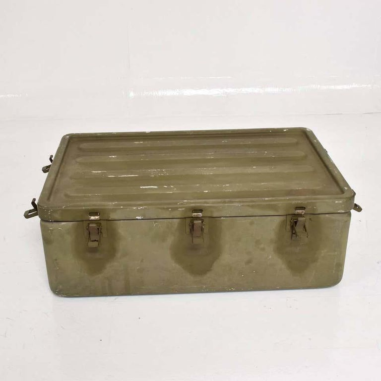 American WWII Military Surplus Large Metal Latch Lock Box Aluminum Vintage in Army Green For Sale