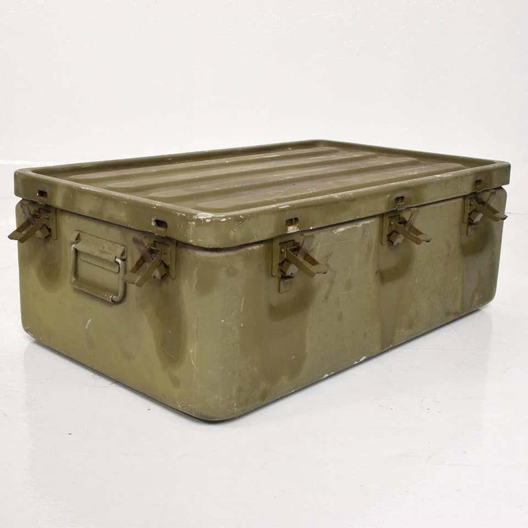 Mid-20th Century WWII Military Surplus Large Metal Latch Lock Box Aluminum Vintage in Army Green For Sale