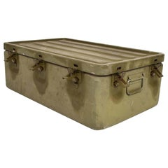 WWII Military Surplus Large Metal Latch Lock Box Aluminum Vintage in Army Green
