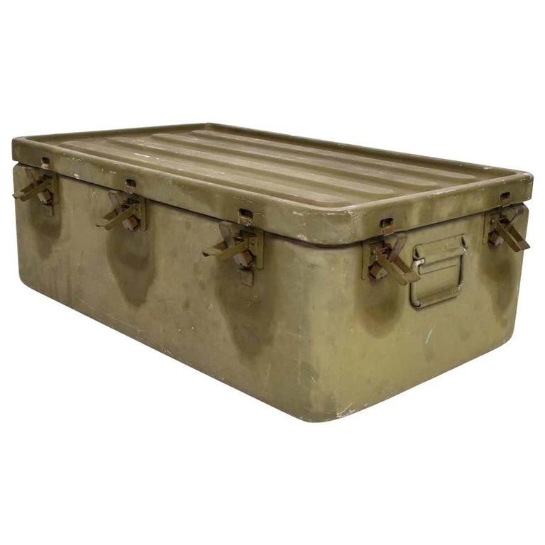 WWII Military Surplus Large Metal Latch Lock Box Aluminum Vintage in Army Green For Sale