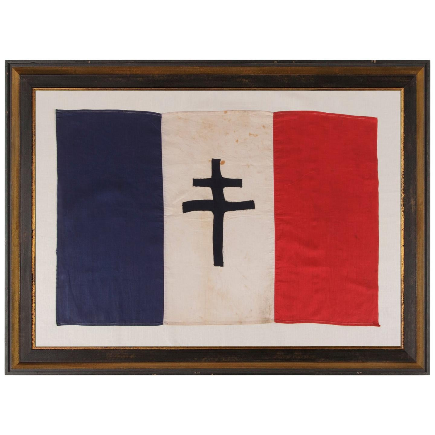 WWII Period French Flag with the Cross of Lorraine