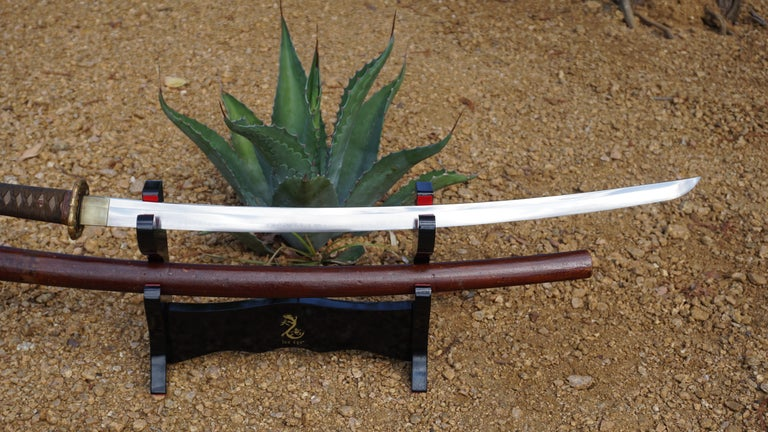 Mid-20th Century WWII Signed Samurai Sword with Lacquered Wood Scabbard
