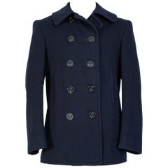WWII US Navy Military-Issue Kersey Wool Pea Coat - US 36-38, 1940s