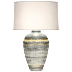 Wyatt Table Lamp in Gray and Gold Ceramic by CuratedKravet