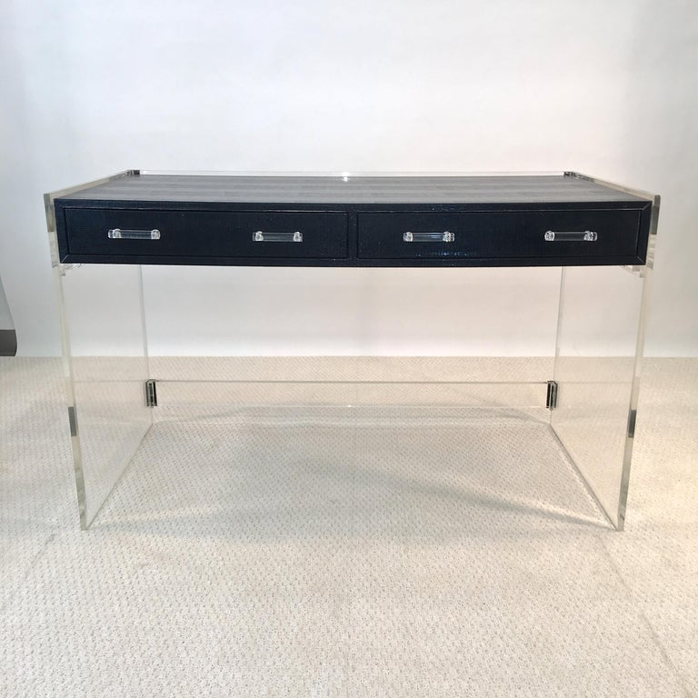 Beveled Wycombe Meyer 1970s Lucite and Black Lizard Writing Table and Chair For Sale